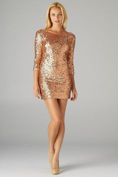 rose-gold sequined mini dress.