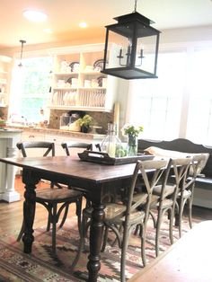 Great table and chairs (not the seats) and a bench under a window ..? And I still like lanterns in the dining room.