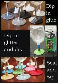 Glitter wine glasses....want to make these for our bar too :)