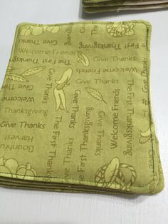 Fabric Drink Coasters - Thanksgiving Coaster -, Reusable Coasters - Table…