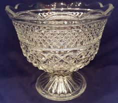 Wexford waffle Anchor Hocking clear pressed glass compote bowl/candy dish