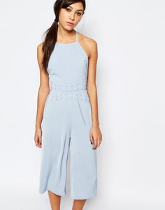 Image 1 ofNeon Rose Jumpsuit with Eyelet Detail at Waist