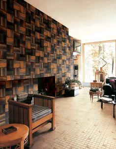 Reclaimed wood mosaic wall from chunky square pieces