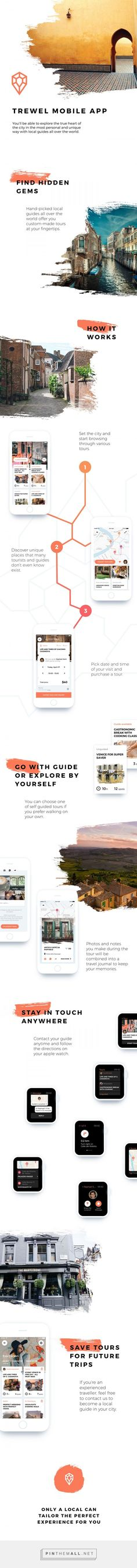 Trewel. Mobile app for travelers and local guides on Behance - created via…