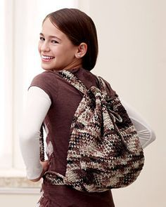 "Camouflage Crochet Backpack | FaveCrafts.com Approx 10 x 13""  Requires 2 balls of Desert Sand Bernat Cotton, with a G hook"