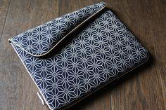 Pochette ipad motif vague keiko - tissu traditionnel japonais -