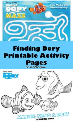 Finding Dory Printable Activity Pages, Disney Coloring Pages, Disney Printables