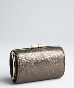 Jimmy Choo gunmetal metallic leather 'Mini Tube' clutch | BLUEFLY up to 70% off designer brands
