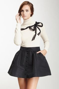 RED Valentino Turtleneck Mesh Bow Sweater by Non Specific on @HauteLook
