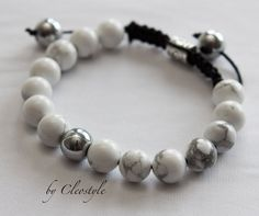 Gemstone Howlite and hematite stone beaded bracelet by Cleostyle, $29.40