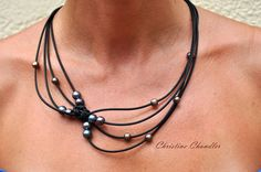 Pearl and Leather Jewelry Necklace - Black Peacock Reef Knot Necklace - Pearl and Leather Jewelry Collection