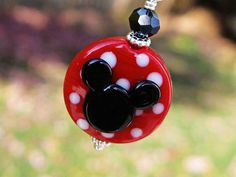 Minnie Mouse Lampwork Glass Beads Sterling Silver Princess Disney Mickey Necklace Pendant Jewelry