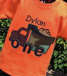 Appliqued Boys 1st Birthday Dump Truck Tee on Orange by lilshabebe, $19.95