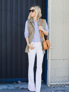Spotted: Damsel in Dior goes for casual-cool this Spring in the Banana Republic Military Vest.