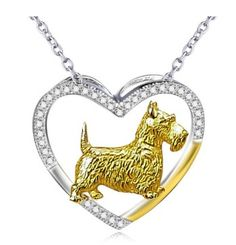 Scottish Terrier Sterling Silver Heart Necklace