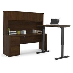 Reversible L-Desk with Adjustable Height Return and Hutch #officefurniture | National Business Furniture