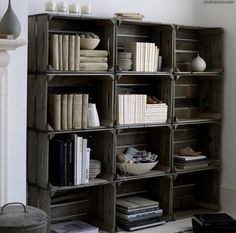 "DIY Crate Bookshelves from ""Unique Bookshelves"""