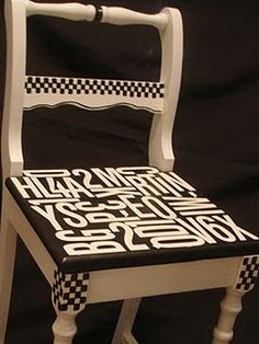 Funky Wooden Chairs Swivel Chair Tree Stand 93 Best Hand Painted Images Furniture I Like The Letters On Might Do This For A In