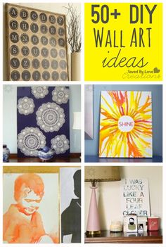 Over 50 cool ways to diy easy wall art - Diy Wall Canvas Diy Projects To Try, Crafts To Do, Home Crafts, Craft Projects, Art Diy, Diy Wall Art, Diy Wall Decor, Diy Artwork, Cuadros Diy