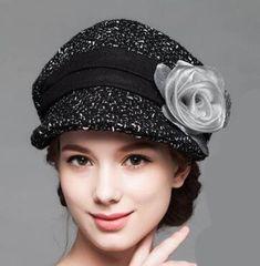 2adbc524cbb Winter flower newsboy cap for women warm wool caps
