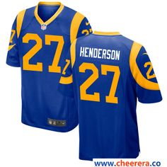 Men's Los Angeles Rams #27 Darrell Henderson Royal Blue Alternate Stitched NFL Nike Game Jersey