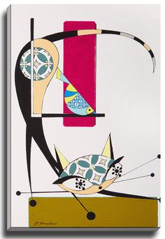 Cat E by Dominic Bourbeau Graphic Art on Wrapped Canvas