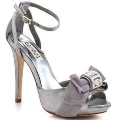 ...Badgley Mischka silver shoes...