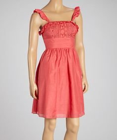 Loving this Coral Lace Silk-Blend Dress on #zulily! #zulilyfinds