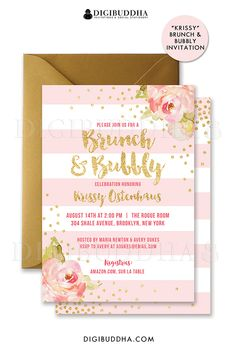 Blush pink & gold Brunch & Bubbly bridal shower invitations with boho chic pink watercolor peonies and gold glitter confetti dots. Choose from ready made printed invitations with envelopes or printable bridal shower invitations. Rose shimmer envelopes also available. digibuddha.com