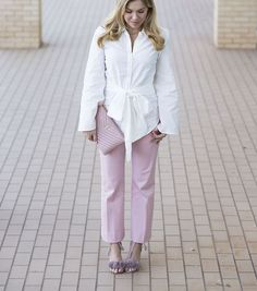 Pink J.Crew pants, white button down bow top, pink ysl clutch