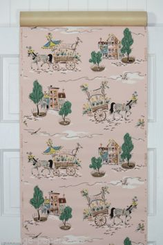 1940's Vintage Wallpaper Pink with Horse and Floral Cart