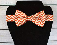 Coral Salmon Mint & Taupe Chevron Adjustable Baby / Toddler / Child Bow Tie