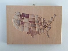 Wooden Wall Map of the continental United States. Carved Wooden Map Made with Birch Plywood and Finished with Wood Wax - Wooden map Wooden Map, Wooden Walls, Wood Wax, Presents For Him, Wall Maps, Some Text, Map Art, Minimalist Design, Plywood
