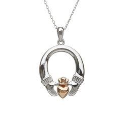 Claddagh Pendant #houseoflor #irishjewelry #irishgold #pendant #sterlingsilver #rosegold #claddagh #celticjewelry