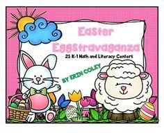 Easter Eggstravaganza (25 Math & Literacy Centers + Word Wall Cards) Kindergarten First Grade Center Activities