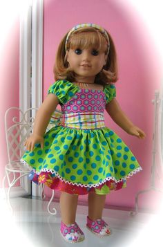 """18"""" American Girl Doll clothes/ handmade/ Princess/ peasant type dress with shoes!"""