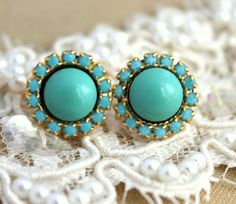 Buy Now Turquoise Swarovski stud earrings gift for woman...