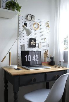 My Minimal Workspace Reveal / The Befores & Afters Workspace Reveal / The Befores & Afters black and wood desk, white minimal desk lamp Pine Desk, Interior, Minimal Workspace, Home Office Furniture, Desk Revamp, Home Office Decor, Diy Office Desk, Workspace Inspiration, Desk Design