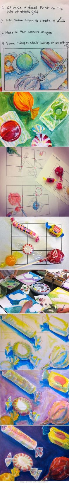 Wayne Thiebaud Candy Compositions Concepts: Composition, Acrylic Painting, Color Theory - created via http:// Wayne Thiebaud, Middle School Art Projects, High School Art, Drawing Projects, Drawing Lessons, Learn Drawing, Drawing Tutorials, 7th Grade Art, 3rd Grade Art Lesson