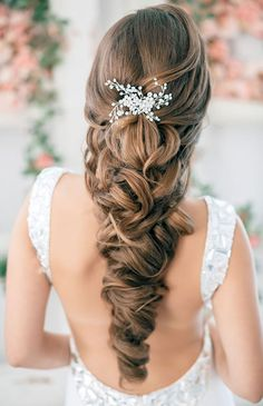 wedding curly downdo for long hair