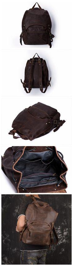 Vintage Style Handmade Leather Backpack, Casual Backpack, School Backpack 5106