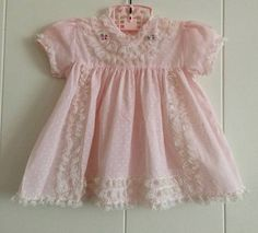 Vintage baby dress pink  first birthday polka dots 12
