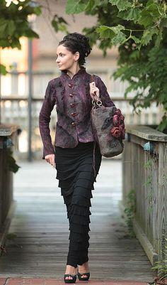 Irena Levkovich Пиджаки, жакеты ручной работы. Ярмарка Мастеров - ручная работа black cherry jacket-. Handmade.