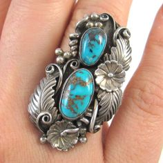 Southwestern Jewelry Ring Size 6 12 Navajo Handmade Ring Sterling Silver Turquoise /& Coral Signed AMC