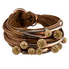 Gillian Julius Multi Tube Bracelet, Copper & Two-Tone Diamond Balls | Coffee Cord. Multi strand bracelet consisting of 20 waxed cotton cords. Each cord of bracelet features a copper tube with two-tone cubic zirconia accents.  $365