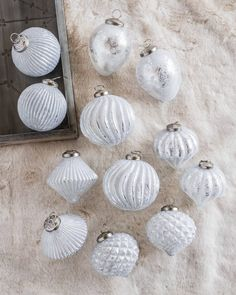 Our exclusive French Country Ornament Sets are made from thick mercury glass and feature a variety of finishes that add texture and contrast to your decor. French Christmas Tree, Country Christmas Ornaments, French Country Christmas, Very Merry Christmas, Christmas Decorations, Christmas Stuff, Winter Christmas, Christmas Trends, Xmas