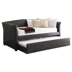 Furniture: Awesome Black Leather Framed Futon Sofa Bed With Sliding Footstool Mixed With Cream Fur Rugs Also Flaoting Shelves Ideas: Unique Futon Sofa Bed for Fresh Living Room Decorating Ideas