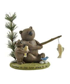 Take a look at this 'Together' Fishing Bear Figurine by Blossom Bucket on #zulily today!