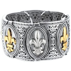 Phillip Gavriel - 18K Yellow Gold & Sterling Silver 7.5 Fleur De Lis... (4 930 PLN) ❤ liked on Polyvore featuring jewelry, bracelets, 18 karat gold bangles, 18k gold bangles, sterling silver jewellery, gold fleur de lis jewelry and 18k jewelry