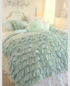 Mint Green Floral&Ruffel BedRoom Set